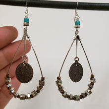 Load image into Gallery viewer, Turquoise teardrop hoop earrings
