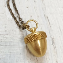 Load image into Gallery viewer, Brass Acorn Capsule Necklace