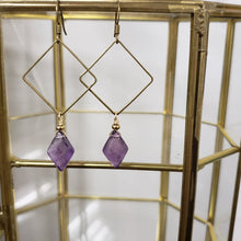 Load image into Gallery viewer, Geometric Amethyst Marquis Earrings