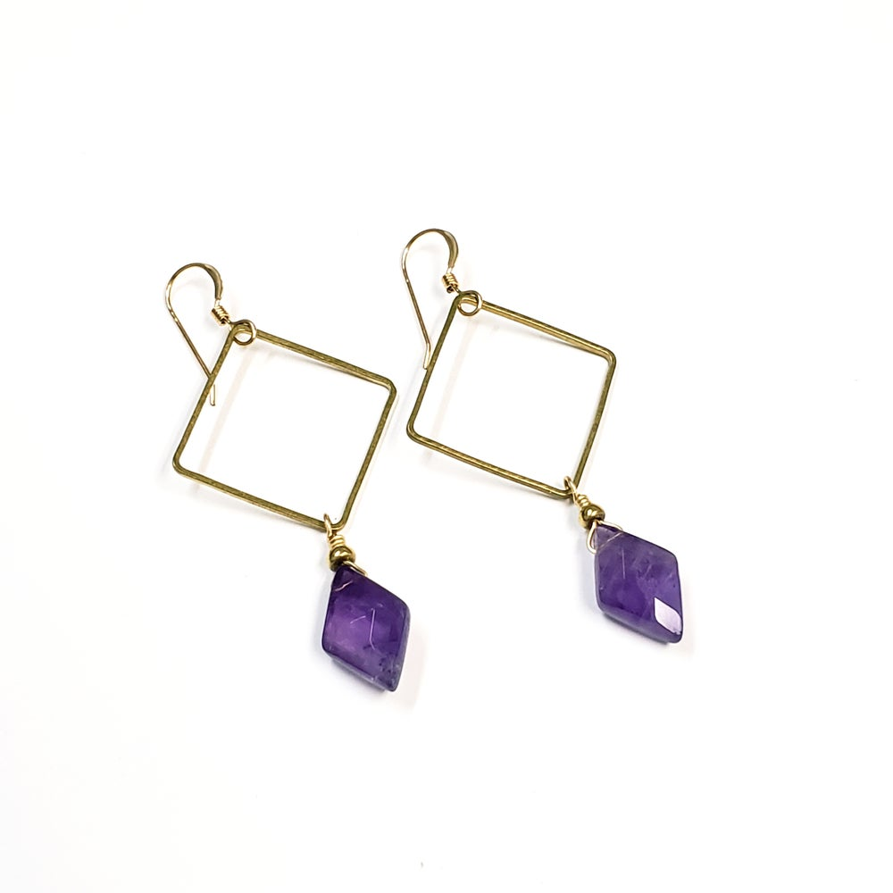 Geometric Amethyst Marquis Earrings