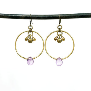 Modern Gemstone Hoops Earrings