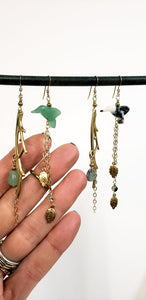 Asymmetric Twig Y Stone Bird Earrings - more colors available