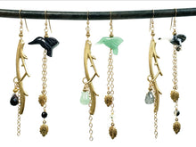 Load image into Gallery viewer, Asymmetric Twig Y Stone Bird Earrings - more colors available