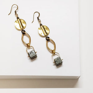 Pyrite Curb Swing Drop Earrings