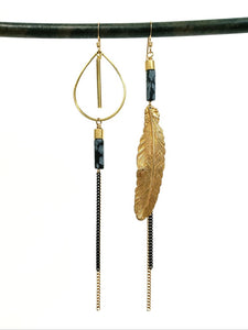 Asymmetric Feather Duster Earrings - more colors available