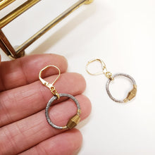 Load image into Gallery viewer, Petit Black Gold Hoop Earrings