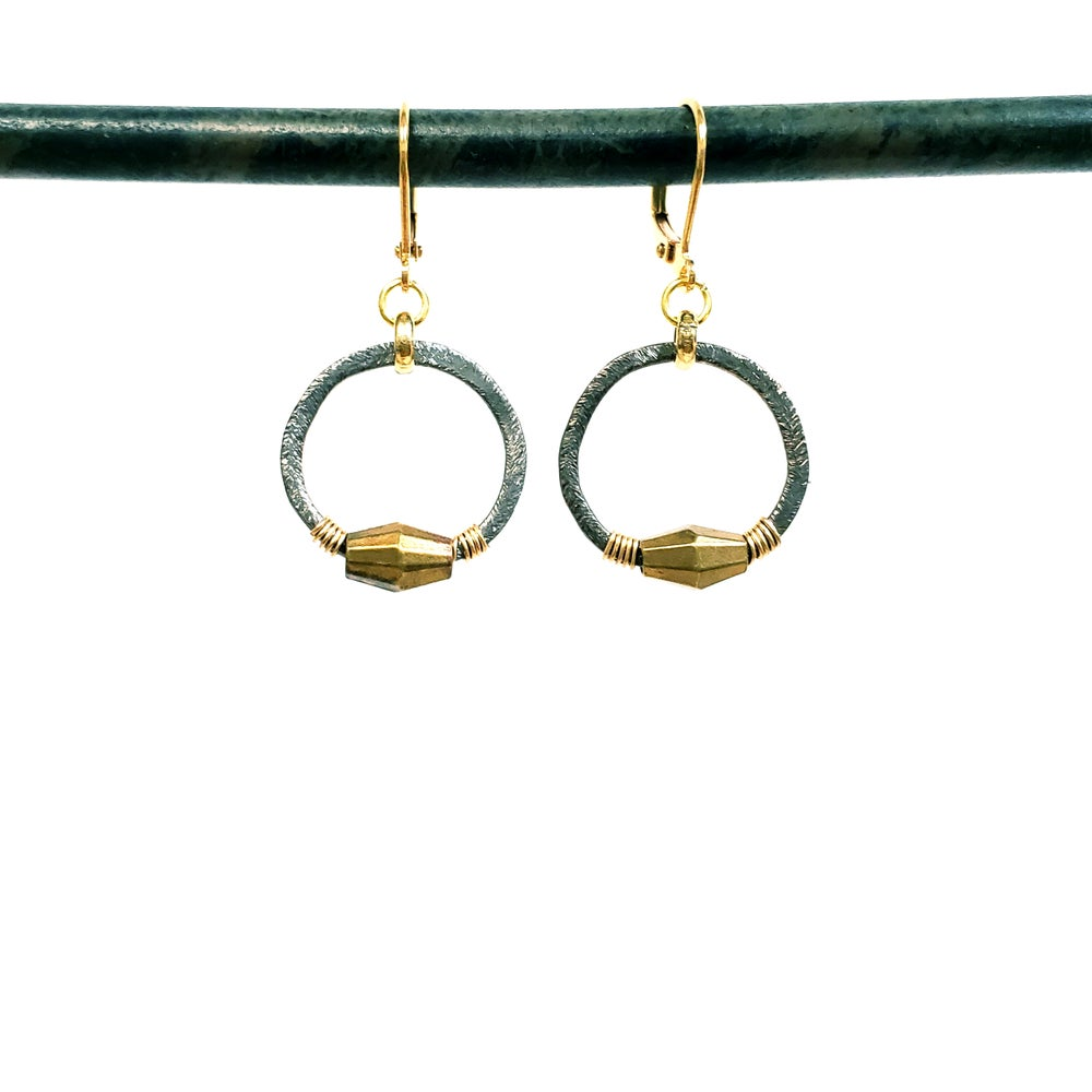 Petit Black Gold Hoop Earrings