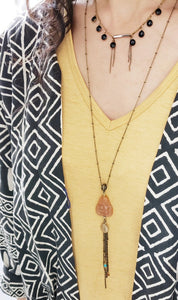 Buddha Tassel Necklace - Orange Aventurine