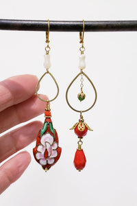 Asymmetric Flame Scarlet Red Cloisonne Earrings