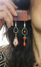 Load image into Gallery viewer, Asymmetric Flame Scarlet Red Cloisonne Earrings