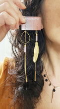 Load image into Gallery viewer, Asymmetric Feather Duster Earrings - more colors available