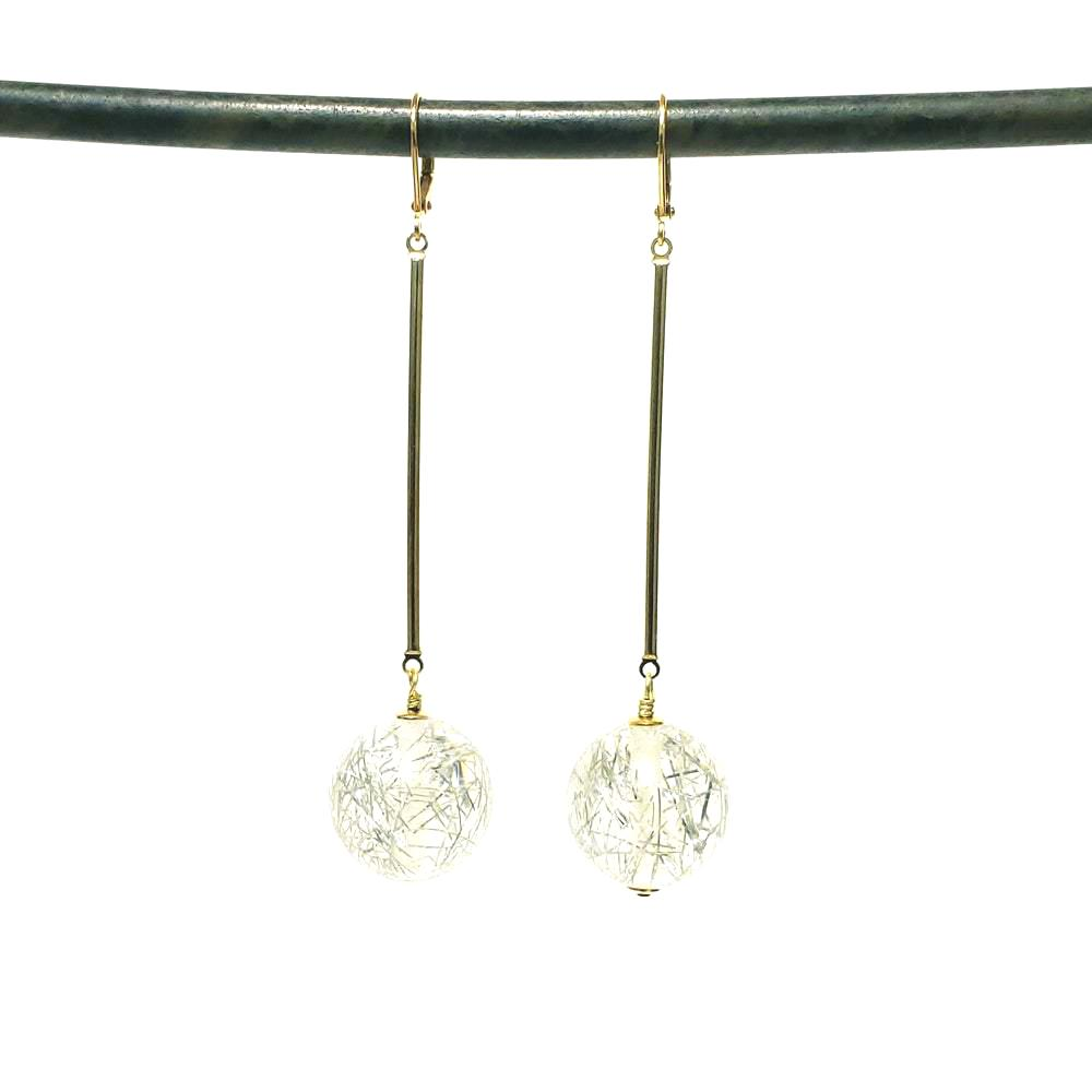 Vintage confetti lucite drop earrings