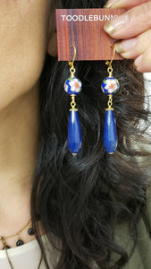 Cloisonne Blue Agate drop earrings