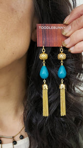 Vintage filigree stone tassel duster earrings - more colors available