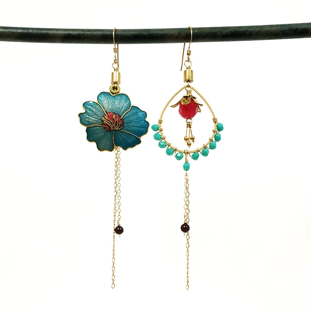 Asymmetric Cloisonne Hibiscus Earrings