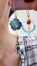 Load image into Gallery viewer, Asymmetric Cloisonne Hibiscus Earrings