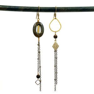 Asymmetric Stone Eye Earrings
