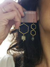 Load image into Gallery viewer, Asymmetric Hexagon Pyrite Drop Earrings