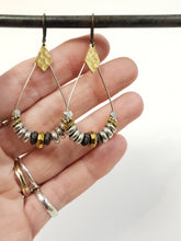 Load image into Gallery viewer, Heishi Teardrop Earrings - mixed metals