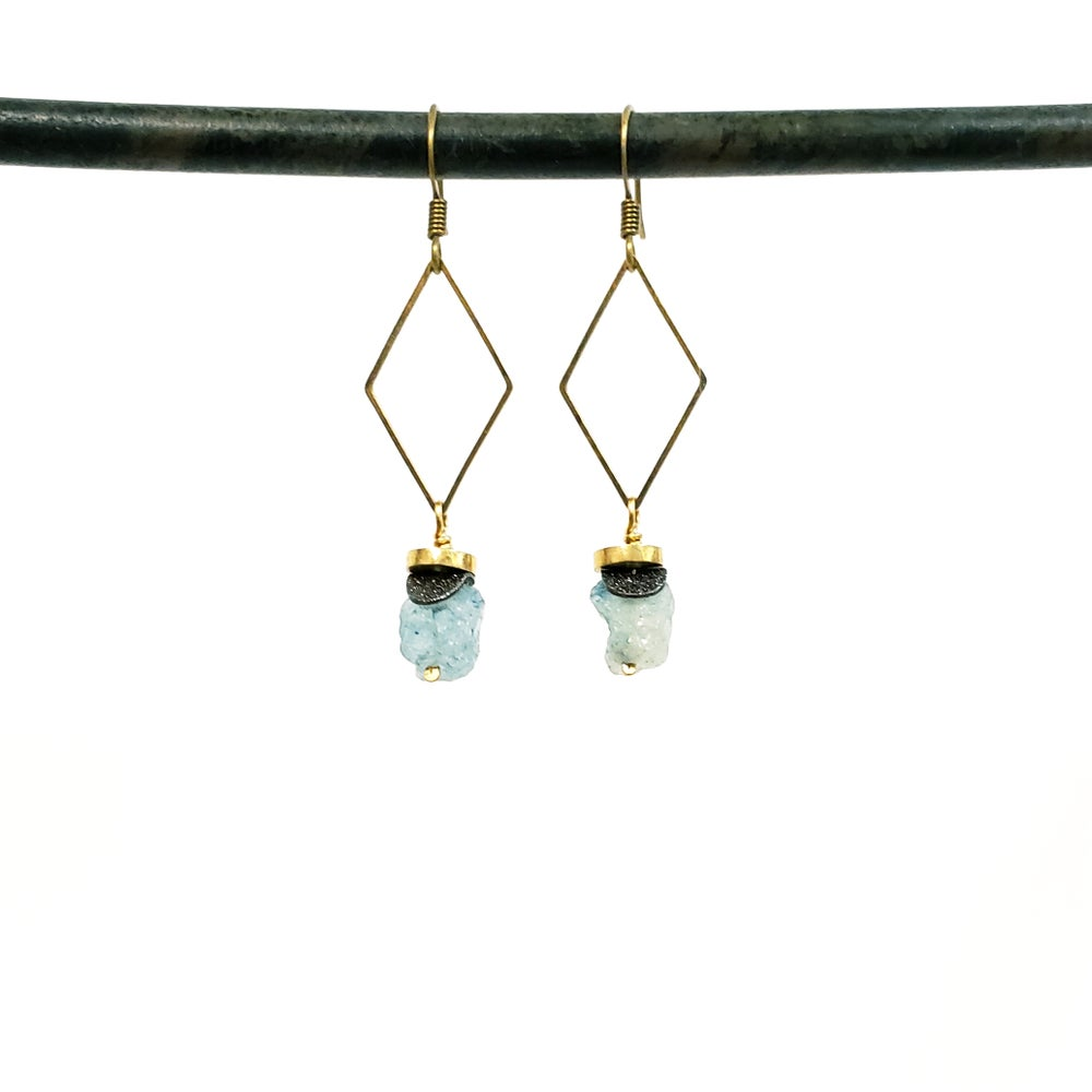 Raw stone drop earrings