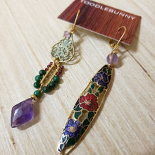 Load image into Gallery viewer, Asymmetric Amethyst Verdigris cloisonne earrings