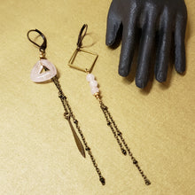 Load image into Gallery viewer, Asymmetric Stone Duster Earrings