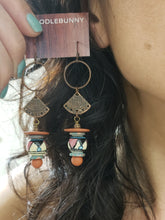 Load image into Gallery viewer, Terracotta Aztec Ring drop earrings