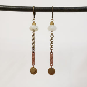 Moonstone Pailette drop earrings