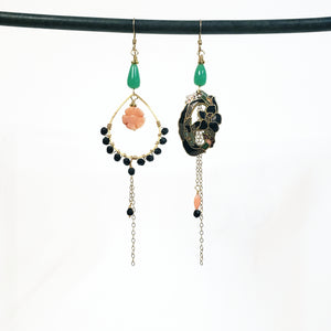 Asymmetric cloisonne lily earrings black