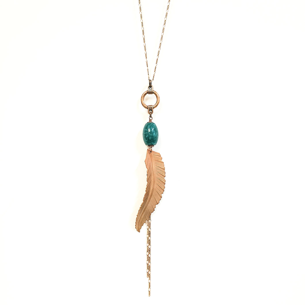 Chrysocolla feather tassel necklace