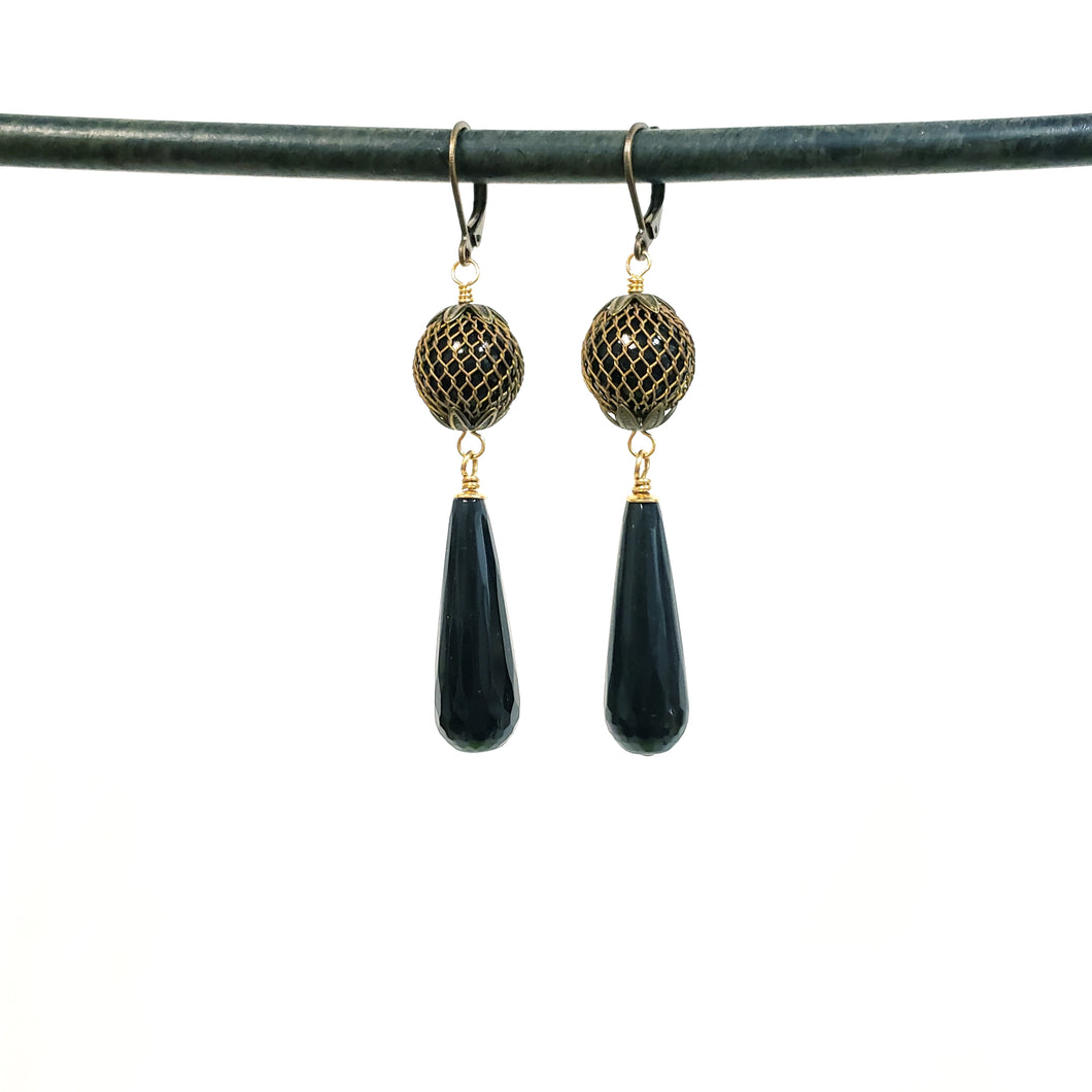 Vintage mesh black onyx drop earrings
