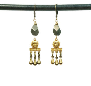 Brass Pharoah Egyptian Fringe earrings