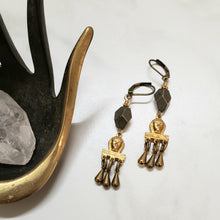 Load image into Gallery viewer, Brass Pharoah Egyptian Fringe earrings