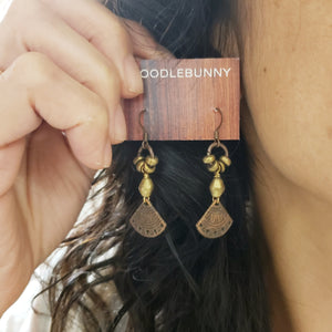 Aztec Copper Fans Earrings