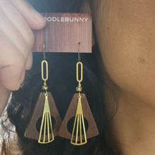 Load image into Gallery viewer, Geometric wood hoop earrings