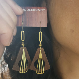 Geometric wood hoop earrings