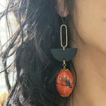 Load image into Gallery viewer, Geometric splash drop earrings