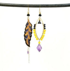 Asymmetric cloisonne leaf earrings