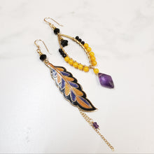 Load image into Gallery viewer, Asymmetric cloisonne leaf earrings