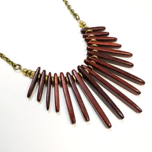 Load image into Gallery viewer, Wood fringe collar necklace