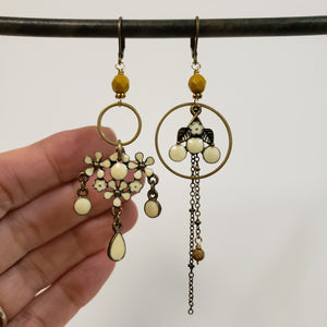 Asymmetric cream ochre floral earrings