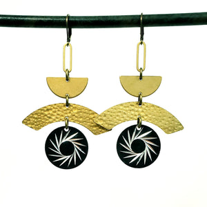Brass geometric Starburst earrings