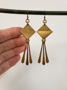 Geometric brass paddle fringe earrings
