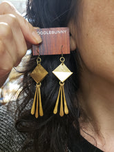 Load image into Gallery viewer, Geometric brass paddle fringe earrings
