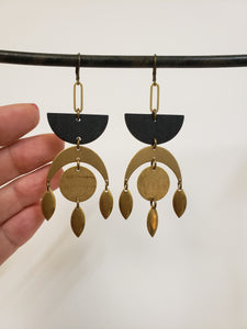 Geometric Moon drop earrings