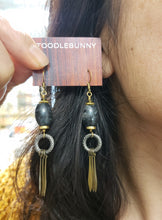 Load image into Gallery viewer, Larvikite fringe drop earrings