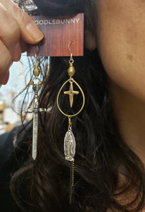Medieval Maden sword and cross earrings II