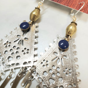 Royal blue eye fringe earrings