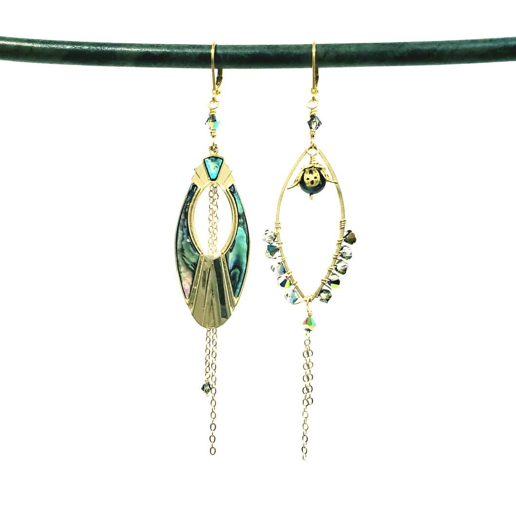 Asymmetric abalone shell crystal earrings