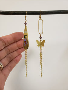 Asymmetric Butterfly earrings purple floral
